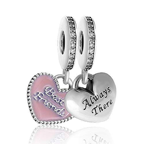 Romántico Amor bracciali Pandora 2pezzi Best Friends BFF pendenti charm cuore nastro perline e Base, cod. 792041CA