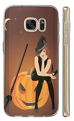 Samsung Galaxy S9 Hülle Softcase TPU Hülle für Samsung S9 Cover Backkover Schutzhülle Slim Case (1579 Hexe Kürbis Halloween Cartoon)