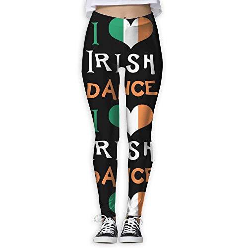 QIAOJIE-High Waist Ultra Soft Lightweight Leggings, I Love Irish Dance Women's Stretchable Sports Running Yoga Workout Leggings Pants Irish Womens Zip Hoodie