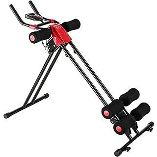 Physionics AB Plank Trainer | Bauchtrainer mit Trainingscomputer und LCD-Display | max. Belastungsgewicht: 100 kg, Farbe: Rot | Fitnessgerät, Kraftsport, Cardio