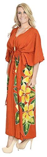 La Leela Bademode Badebekleidung Rayon Abend aloha Nachtzeug Kaftan loses Kleid der Frauen Orange 2