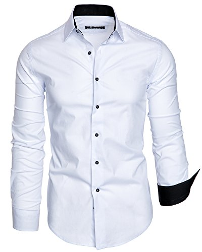 Amaci&Sons Herren Slim Fit Hemd Bügelleicht Business Freizeit Shirt 50002 Weiß XL