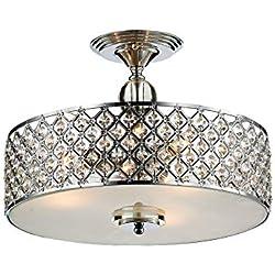 Saint Mossi Modern K9 Crystal Lámpara de araña de lluvia Iluminación empotrada LED Lámpara de techo Lámpara colgante para comedor Baño Dormitorio Altura de la sala de estar 28cm x Ancho 39cm