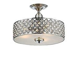 Saint Mossi Modern K9 Crystal Raindrop Chandelier Lighting Flush mount LED Ceiling Light Fixture Pendant Lamp for Dining Room Bathroom Bedroom Livingroom Height 28cm x Width 39cm