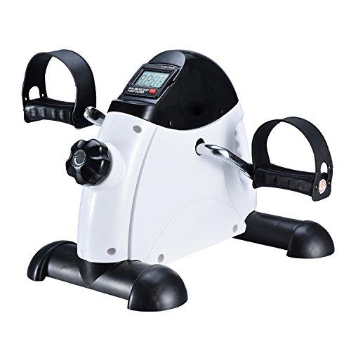 FITODO Mini Fahrrad Pedaltrainer für Arm- und Beintrainer Heimtrainer mit LCD-Monitor(Weiße)