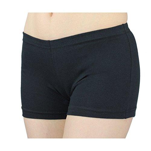 Damen Shorts Hotpants Kurze Hose Sport Shorts Baumwolle Sommershorts Fitness Shorts Bunte, Farbe: Schwarz, Größe: 38-40
