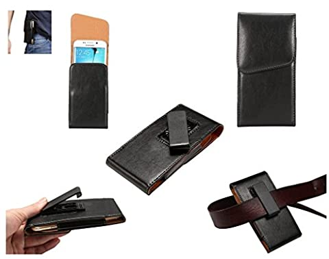 DFV mobile - Magnetic leather Holster Executive Case belt Clip Rotary 360º for => DIGINNOS MOBILE DG-W10M (2015) > Black