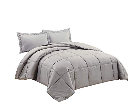 Chezmoi Collection 3-teilig Down Alternative Tröster Set Oversized King Paloma Gray - Paloma Creme
