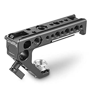 SMALLRIG Handle with Locating Hole for ARRI Standard + Anti-off Designed Cold Shoe Adapter+ 15mm Rod Clamp+1/4''-20 and 3/8''-16 Threaded Holes Offers Comfortable Handheld Experience 2165
