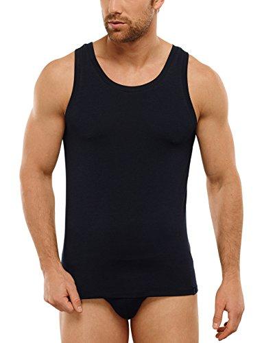 Schiesser Herren Unterhemd Long Life Shirt 0/0, Gr. Large (Herstellergröße: 006), Schwarz (blauschwarz 001) (Modal-Ärmellos)