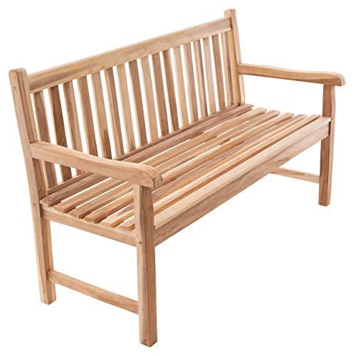 Divero 3-Sitzer Bank Holzbank Gartenbank Sitzbank 150 cm - zertifiziertes Teak-Holz unbehandelt hochwertig massiv - Reine Handarbeit - Wetterfest (Teak Natur)