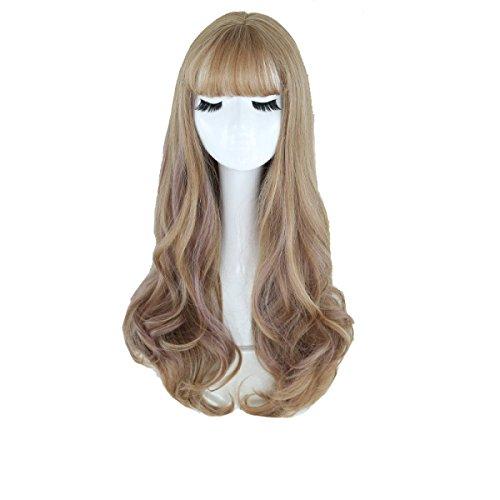 Snifgoij Perruques Femmes Longs Boucles Big Waves Nature Lifelike Fluffy Triste Visage Long Curls Wig Sets Skin Friendly Fit Soft Trend,C