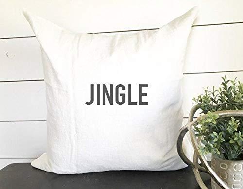 PotteLove Jingle Pillow Cover, Christmas Pillow, Holiday Pillow, Christmas Decor, Holiday Decor Gift Cotton Linen Blend Case Cushion Pillowcase For...