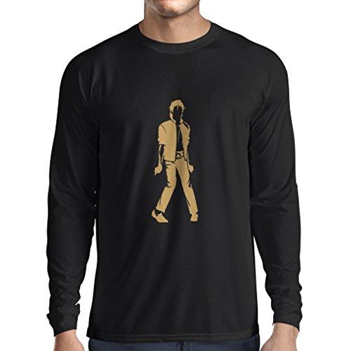 lepni.me Long Sleeve Men's T-Shirt I Love M J - King of Pop Party, 80s 90s Musically Shirt, Band Merch