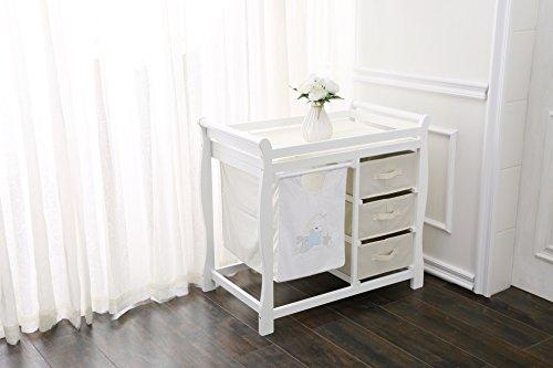 Fiximaster Sicherheit baby Wickelkombination, Holz-Wickeltisch, Baby Massivholz Windeltisch mit Schubladen weiß Model N001