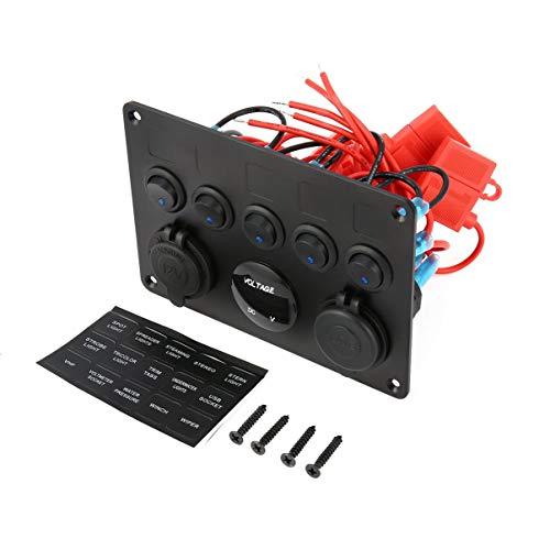 JullyeleDEgant Professionelle 5 Gang on-Off Kippschalter Bedienfeld mit Digital Voltmeter 2 USB Ladegerät 12 V für Auto Marine Boot