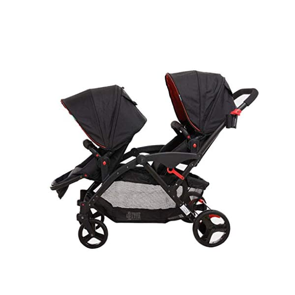 Connect Tandem Pushchair Twins Baby Stroller Can Shock Can be Split Two Tires Double Trolley Travel System  Lightweight and compact Travel System ideal for everyday use or travel. One-hand fold mechanism lets you easily fold the pushchair. Multi-position reclining chair for comfort. 1