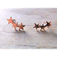 Rose Gold Plate StarBurst Stud Earrings, gifts for her