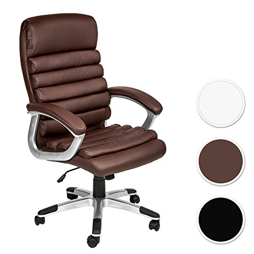 TecTake Poltrona sedia ufficio presidenziale classe di lusso pelle sintetica - disponibile in diversi colori - (marrone | no. 402150)