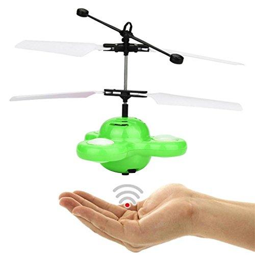 QUINTRA Hand fliegen UFO Ball LED Mini Induktions-Aufhebung RC Flugzeuge fliegen Spielzeug Drohne (Grün) (Video Pocket Navigator)
