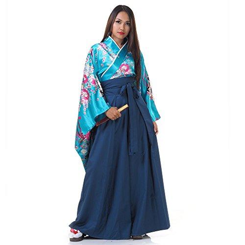 Samurai Kostüm Hakama - Princess of Asia Japan Damen Geisha Samurai Kimono Outfit Kostüm S M 36 38 40 (Türkis & Blau)