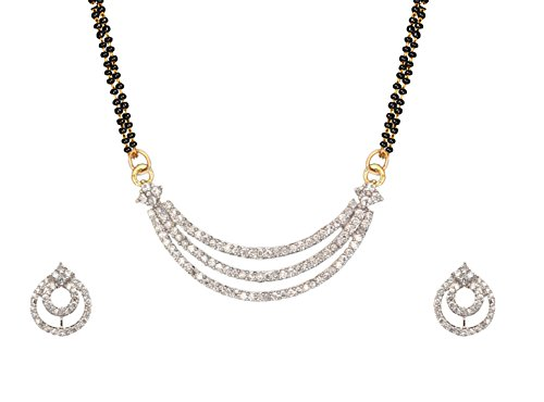 Sitashi 18 K Gold Plated AD American Diamond Floral Design Fashion Jewelry Mangalsutra Set For Women