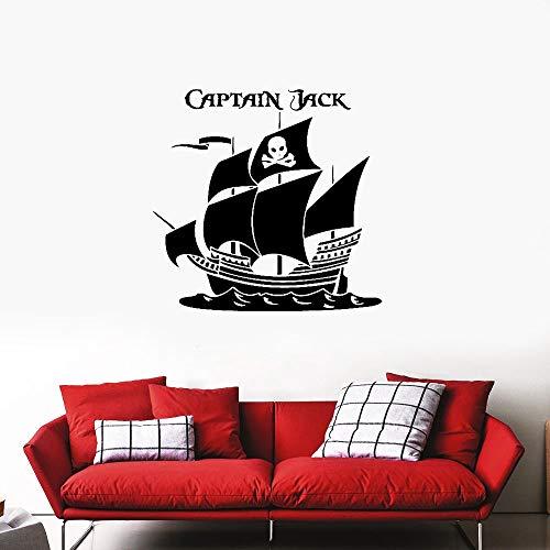zimmer wandaufkleber 3d Kapitän Pirates Custom Personalized Name Schlafzimmer Piraten Schiff Aufkleber für Wohnzimmer Schlafzimmer ()