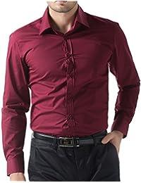 a12344f83 PaulJones Men's Fashion Solid Color Button Down Long Sleeve Dress Shirt