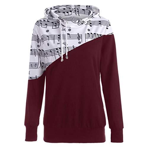 TianWlio Damen Hoodie Frauen Langarm Musical Hinweis Gedruckt Nähen Bluse Tops