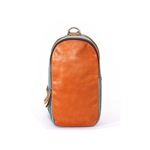 Paonies Canvas Leder klein Tasche Herren Damen Umhängetasche Brusttasche Rucksack Schultertasche für Freizeit Reise Sports (Grün) Hellblau