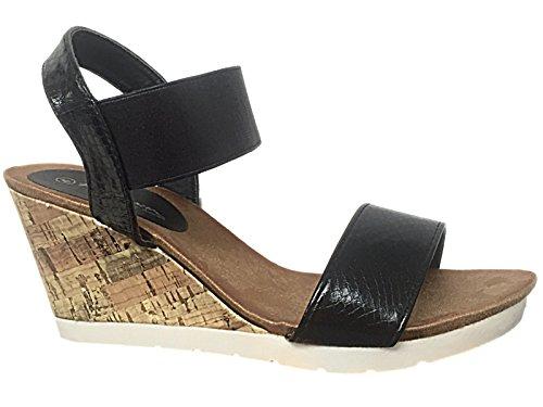 Foster Footwear ,  Mädchen Damen Sandalen mit Keilabsatz Black Snake PU