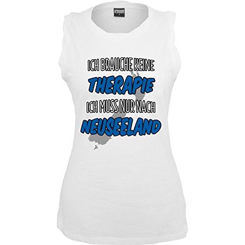 Urlaub Ich brauche keine Therapie ich muss nur nach Neuseeland ärmelloses Damen  TShirt mit Brusttasche Weiß