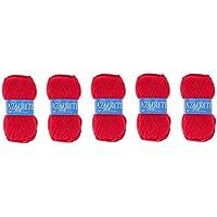 41e5f935d901 Lot 5 Pelotes de laine Azurite 100% Acrylique Tricot Crochet Tricoter -  Rouge - 156