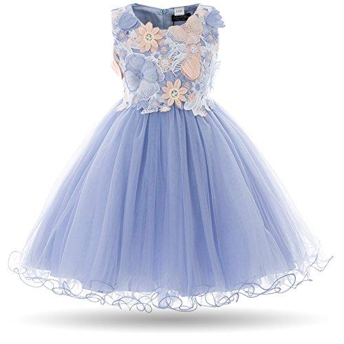 Cielarko Mädchen Kleid Schmetterling Ärmellos Prinzessin Hochzeit Blumenmädchen Kleider