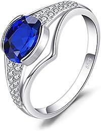 JewelryPalace Anillo Aniversario 1.9ct Zafiro creado en plata de ley 925
