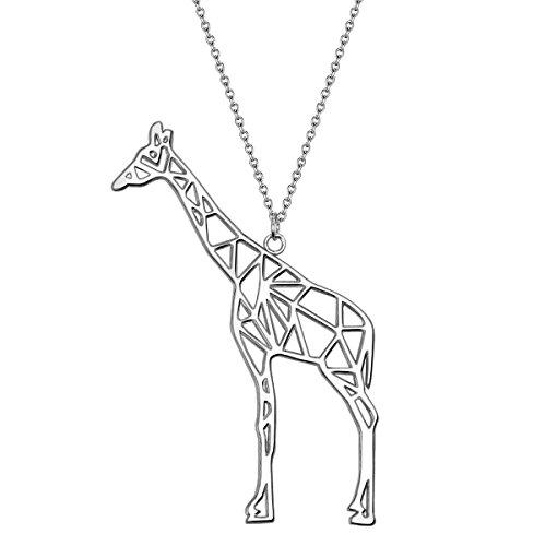 80 Symbol (Glanzstücke München Damen-Silberhalskette mit Anhänger Giraffe Sterling Silber 80 cm lang - Silberkette Festival-Kette mit Symbol Tier lange Modern-Kette mit XXL-Anhänger)
