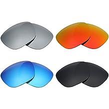 MRY 4 Pares polarizadas Lentes de Recambio para Arnette Fire Drill AN4143 Sunglasses-Stealth Negro