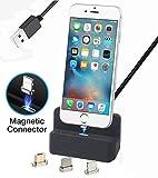 AUSWAUR Magnetische Ladegerät Dock Ladestation 3 in 1 Micro USB & iP & Typ-C, Ladegerät Docking Station Cradle Schnellladung für Phone X 8 7 6 6 s Plus Galaxy S6 S7 S8 Plus (Schwarz)