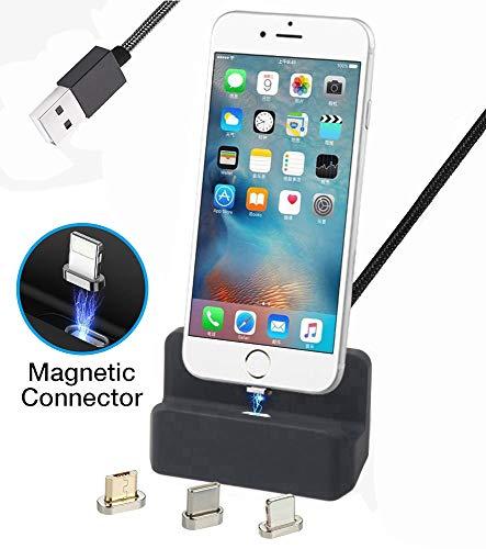 Preisvergleich Produktbild AUSWAUR Magnetische Ladegerät Dock Ladestation 3 in 1 Micro USB & iP & Typ-C,  Ladegerät Docking Station Cradle Schnellladung für Phone X 8 7 6 6 s Plus Galaxy S6 S7 S8 Plus (Schwarz)