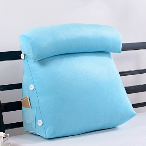MMM- Garder au chaud Confortable Triangle Bedside Large Coussin Lit Soft Package Office Canapé Oreiller ( Couleur : Bleu , taille : 45 )