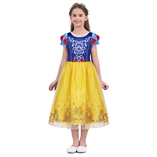 iixpin Mädchen Schnee Kostüm Baby Prinzessin Kleid Märchen Cosplay Karneval Fasching Kostüm Gelb 104-110
