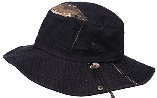 Hommes 100% Coton Chapeau de pêche avec cordes Boonie Bucket Pu Ceinture Chapeau Voyage Cap Outdoor Sun Hat