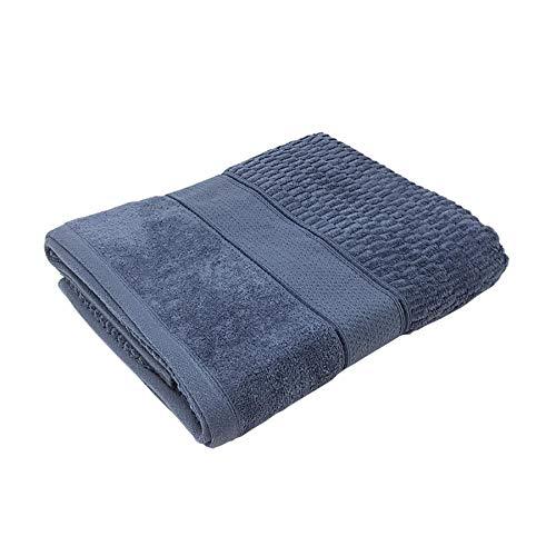 Gesicht Denim (4 x Luxus Luxus Streifen Baumwolle Samt Look Denim Blue Gesicht Handtücher)