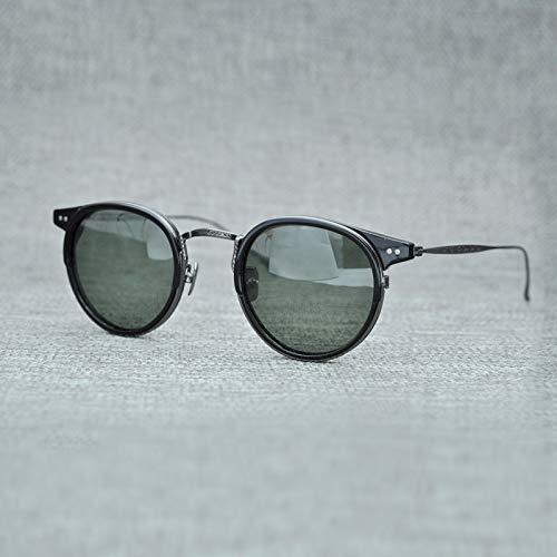 LKVNHP Titan Polarisierte Sonnenbrille Männer Marke Vintage Acetat Sonnenbrille Frauen Nylon Objektiv Runde Sonnenbrille Uv400 Oculos De SolGrün Schwarz