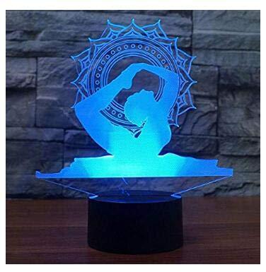 3d Illusion El yoga Lámpara luces noche ajustable