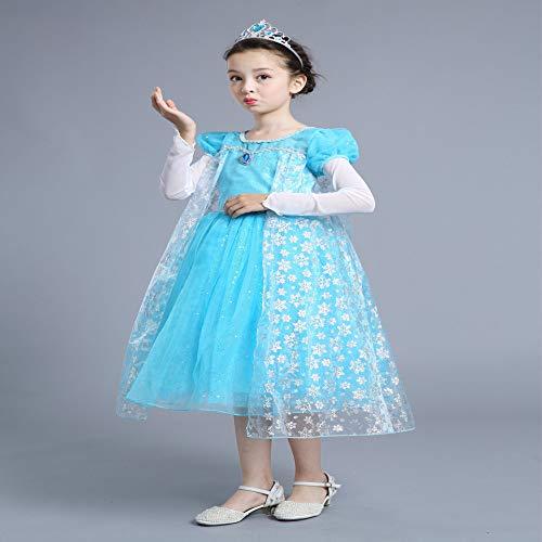 Kostüm Hexenmeister Winter - Prinzessin Rock Halloween Weihnachten Cosplay Leistung Kostüm Perlen blinken Langarm Kleid hellblau 120cm