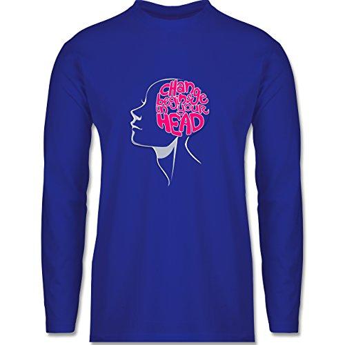 Statement Shirts - Change Begins in Your Head - Herren Langarmshirt Royalblau