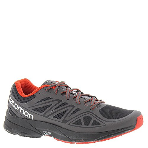 Salomon L38153400, Zapatillas de Trail Running para Hombre, Negro (Black / Autobahn / Radiant Red), 47 1/3 EU