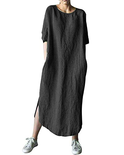 AUDATE Leinenkleider Kurzarm Solide Hemdkleid Lose Sommer Kaftan Kleid Blusekleid für Damen Schwarz DE 42