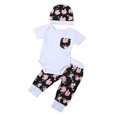 JYJM3pcs Newborn Baby Kid Girls Romper Jumpsuit+Floral Pants+Hat Clothes Outfits Set (Größe:6-12Monate, Weiß) Floral Cotton-hose